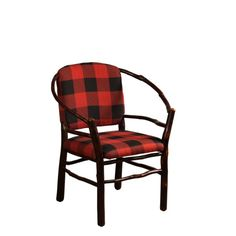 2025 Hoop Chair with Buffalo Plaid Fabric Rustic Dining Chairs, Tufted Dining Chairs, Rustic Chair, Dining Table, Old Hickory Furniture, Cabin Furniture, Rustic Country Furniture, Plaid Chair, Buffalo Plaid Fabric