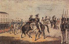 Esta imagen se corresponde al Convenio de Vergara, también llamado Abrazo de Vergara en la localidad Oñate, situada en Guipúzcoa, el 31 de agosto de 1839 entre el general isabelino Espartero y trece representantes del general carlista Maroto. La firma de este convenio dio fin a la Primera Guerra Carlista en el norte de España, la imagen representa el abrazo que Espartero y Maroto se dieron ,tras la firma del mismo, delante de sus tropas situadas en las campas de Vergara, razón de su nombre.