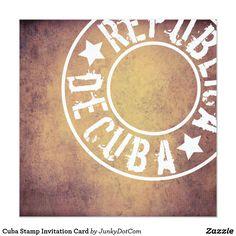Cuba Stamp Invitation Card Oct 4 2017 - @zazzle #junkydotcom #autumn #fall