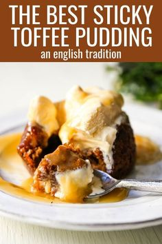 Sticky Toffee Pudding. A famous English dessert with a moist sponge cake covered in a homemade caramel toffee sauce and vanilla ice cream.The perfect Christmas dessert or holiday dessert recipe. A Christmas traditional dessert. www.modernhoney.com #stickytoffeepudding #toffeepudding #stickypudding #datecake Holiday Desserts, Fun Desserts, Delicious Desserts, Christmas Dessert Recipes, Health Desserts, Pudding Desserts, English Dessert Recipes, English Recipes, Traditional Christmas Desserts