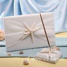 ヒトデと貝殻がついた結婚式芳名帳とペンセット 海・マリンがテーマ 【シェリーマリエ】ウェディンググッズ・結婚式アイテム手作りキット通販専門店