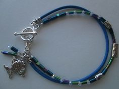 Beach Chic Artisan Hammered Floating Focal Bead Swarovski Crystal Fish Charm 925 Silver Artisan Toggle Bracelet Designed by Blue Tortue