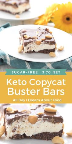 The famous Dairy Queen Buster Bars get a sugar-free keto makeover! Creamy low carb vanilla ice cream with peanuts and keto chocolate ganache. Low Carb Sweets, Low Carb Desserts, Frozen Desserts, Frozen Treats, Ketogenic Desserts, Keto Snacks, Sugar Free Desserts, Dessert Recipes, Keto Recipes