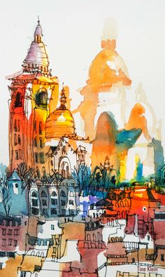 Paris, Sacre Coeur: Tine Klein is an artist which is creating a unique, colorful sketchbook style. Her drawings are an unusual mixture of painting and drawing with a delicate beauty. Tine Klein is an art teacher and can be hired for workshops in Germany a Art And Illustration, Watercolor And Ink, Watercolor Paintings, Watercolours, Unique Drawings, Urban Sketching, Art Sketchbook, Art Techniques, Urban Art