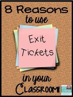 Lots of ideas and free items created to make using exit tickets easy ~ A great opportunity to see if students understand the day's lesson. Especially helpful for struggling students.