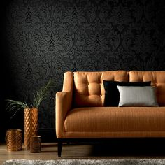 Graham & Brown offers a wide selection of Damask wallpaper and wall coverings for your home. Shop for modern design wallpaper and Damask wall coverings now. Black Textured Wallpaper, Grey Removable Wallpaper, Textured Walls, Gothic Wallpaper, Damask Wallpaper, Black Wallpaper Bedroom, Wallpaper Art, Designer Wallpaper, Black Accent Walls