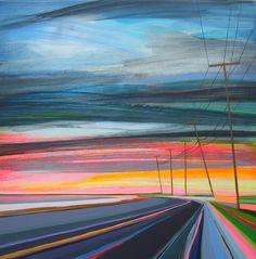 Pinturas coloridas capturam a liberdade infinita de se dirigir na estrada