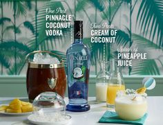 The Pinnacle® Welcome to Paradise  1 part Pinnacle® Coconut Vodka 2 parts cream of coconut Splash of pineapple juice Coconut Pineapple slices  Rim glass with coconut, mix ingredients together 