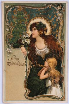 Antique German Christmas Postcard Art Nouveau Mother Daughter Gold Stamped 1905