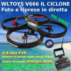 DRONE WLtoys V666 RC QUADRICOTTERO 5.8G FPV CAMERA HD 2.0MP MONITOR HEADLESS