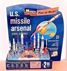 monogram missile arsenal Plastic Model Kits, Plastic Models, Retro Toys, Vintage Toys, Monogram Models, Space Toys, Vintage Space, Atomic Age, Vintage Models