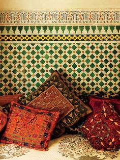 A contrast of patterns and textures in the Pasha Suite mirrored the electic range of textiles found in the souk.