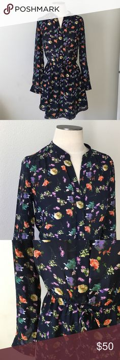 Piperlime Collection-Navy Floral Shirt Dress SZ XS Piperlime Collection- Navy Floral Shirt Dress. Brand new, never worn. Elasticized waist and also ties in the front to adjust. 100% silk shell, lining is 100% polyester. Size XS. Piperlime Dresses Long Sleeve