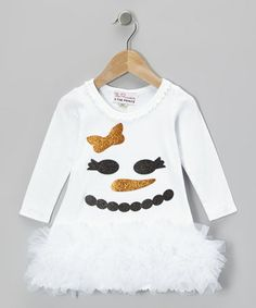 Take a look at this White Glitter Snowman Ruffle Dress - Infant, Toddler & Girls by The Princess and the Prince on #zulily today!