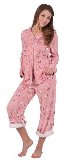 """Munki Munki Women's """"Hippos In Paris"""" Cotton Knit Pajama in Pink"""