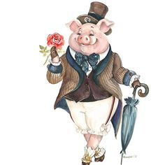 """""""In every job that must be done, there is an element of fun. Pig Illustration, Illustrations, Pig Images, Art Public, Pig Drawing, Pig Art, Cute Piggies, Pintura Country, Watercolor Animals"""