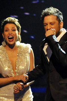 Dannii Minogue in Jenny Packham with The X Factor UK series 7 winner, Matt Cardle.