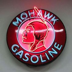 The top lot at an August Petroliana & Gas Station Collectibles Auction was this Mohawk Gasoline single-sided porcelain neon sign, which soared to $30,250.
