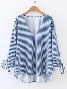 Shop V-Cut Vertical Striped Tie Cuff High Low Blouse online. SheIn offers V-Cut Vertical Striped Tie Cuff High Low Blouse