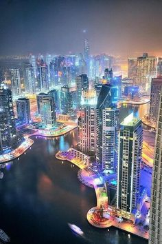 Aerial view of Dubai SKyline at twilight.