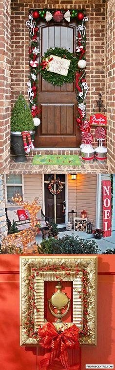 Christmas front door decorations - 10 PHOTO!