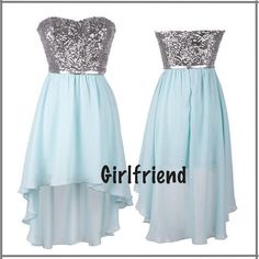 Each of our dress are made to order by hand  Dress code:G0166  Fabric: Chiffon Embellishment: Sequins Silhouette: A-Line  Hemline: High-low  Neckline: Sweetheart Sleeve Length: Sleeveless  Back Details: Zipper-up  Color: See picture  Size: 2,4,6,8,10,12, Custom-made  Each of dress ...