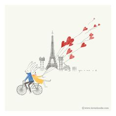 Check out the design Paris in Love by Lim Heng Swee available on Tote Bag on Threadless Corporate Design, Illustrations, Graphic Illustration, Travel Illustration, Digital Illustration, Saint Valentine, Valentines, Valentine Bouquet, Love Doodles
