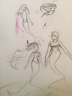 Mermaid doodles on a bad piece of paper by @Musicals_Art_I