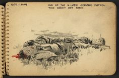 """""""German patrol who didn't make it back,"""" from American WWII soldier Victory A. Lundy's sketchbook"""