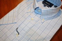 Faconnable Short Sleeve Shirt  Classic Blue Check | #Mondo #Uomo #Naples #Fashion