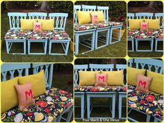love that these stools have now become a bench! Great idea and love the colors and patterns for outside!