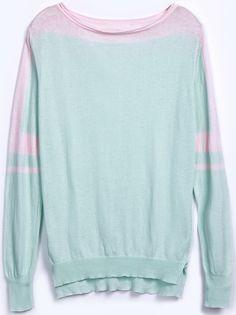Green Long Sleeve Contrast Shoulder Dipped Hem Sweater - Sheinside.com