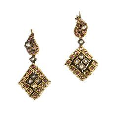 A Pair of Ruby and Diamond Flexible Earring. Himalayas, 19th Century