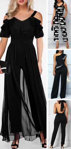 When you are going to take a meet,you need a serious clothes,these black jumpsuits desigen make you look sexy and elegant  -  nails