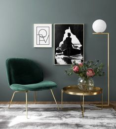 Get inspired with our interior photos and find your favorite style. Shop both posters at Desenio. Living Room Green, Green Rooms, Interior Design Living Room, Living Room Designs, Living Room Decor, Bedroom Decor, Wall Decor, Wall Art, Room Inspiration