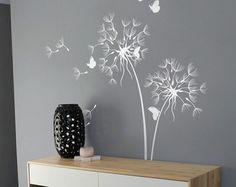 Dandelion Wall Decal With Butterflies Nursery Wall Decal Wall