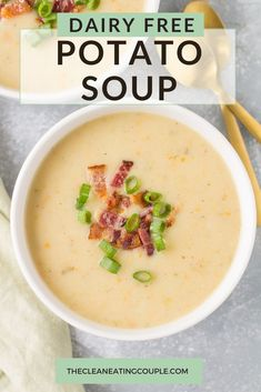Healthy Potato Soup is total comfort food! Paleo, Whole30   vegan, this easy creamy potato soup can be made on the stove, in the crock pot or instant pot. This clean eating soup is totally dairy free and vegetarian! I use coconut milk to get it super creamy, but you can use almond milk too! #whole30 #paleo #vegan #potatosoup Clean Eating Guide, Clean Eating Soup, Easy Clean Eating Recipes, Easy Whole 30 Recipes, Healthy Potato Soup, Creamy Potato Soup, Healthy Potatoes, Healthy Gluten Free Recipes, Paleo Vegan