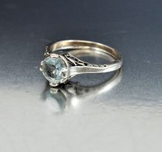Vintage Sterling Silver Filigree Aquamarine Ring