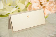 Blank Double-Layered Crystal-Studded Seating Card in mauve and nude by PennyAnnDesigns