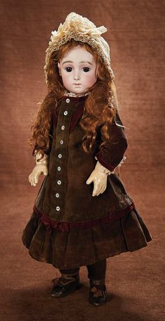 At Play in a Field of Dolls (Part 1 of 2-Vol set): 237 An Especially Captivating French Bisque Bebe Triste by Emile Jumeau in Rare Size 10