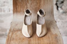 Natural Maryjane shoes/ Natural leather shoes by WalkByAnatDahari, $289.00