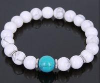 Mens Women Lava Rock White Howlite Turquoise Bracelet Tibetan Silver Spacer