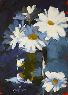 "Daily Paintworks - ""Blue Daisies"" - Original Fine Art for Sale - © Mike Daymon Daisy Painting, Acrylic Painting Flowers, Oil Painting Abstract, Abstract Flowers, Watercolor Art, Painting Art, Small Paintings, Paintings I Love, Indian Paintings"