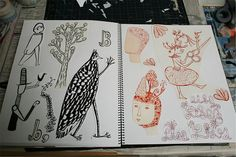 sketchbook pages by sarajo frieden, via Flickr