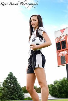 2014 High School Senior girl inspiration for sports posing. Soccer pose on the high school soccer field. High school senior pictures with a socceror any type of sport.