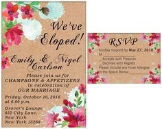 Shop for on Etsy, the place to express your creativity through the buying and selling of handmade and vintage goods. Elopement Party, October 10, Food Allergies, Rsvp, Party Invitations, Champagne, Marriage, Place Card Holders, Party Ideas
