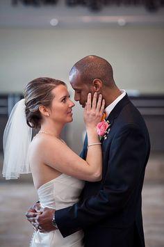 Interracial couple wedding photo, love.