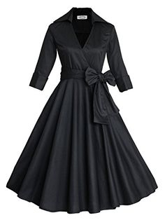 c5b7dbbc45 Amazon.com  Babyonline 3 4 Sleeve Classy V Neck Audrey Hepburn Style 1940 s Rockabilly  Dress  Clothing