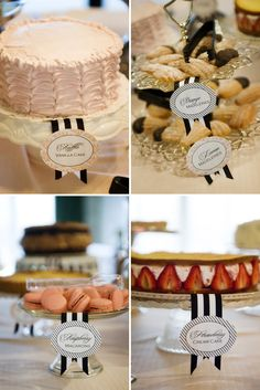 French Inspired Bebe Shower.  Loving the placecards with each food item