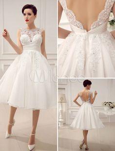 Vestido de novia con escote redondo y cuentas Milanoo